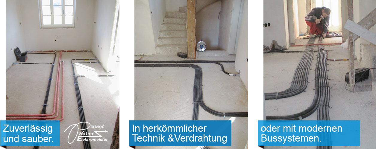Elektroinstallation zukunftssicher mit Rohrverlegung ausgeführt.