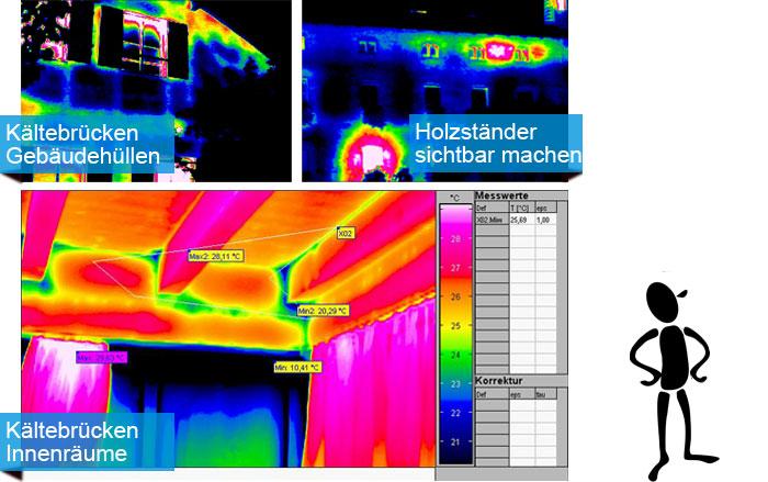 Wärmebildaufnahme von Gebäuden. z.T. mit extremen Wärmebrücken. Thermische Unregelmäßigkeiten einfach sichtbar gemacht