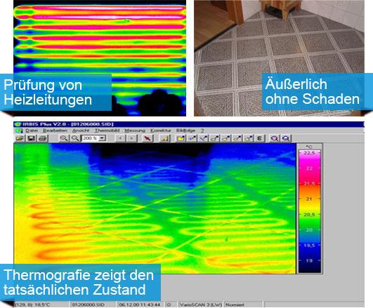 hydraulische Wandheizung und elektrische Fussbodenheizung mit Thermogramm sichtbar gemacht. Auf gleiche Weise sind undichtigkeiten und Kurzschlüsse erkennbar