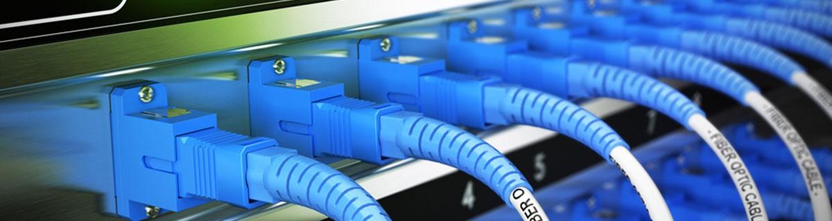 Netzwerkverteiler in einem Datenzentrum.