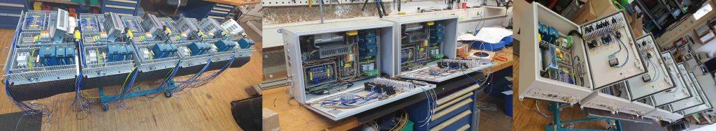 Arbeitsschritte von der bestückten Montageplatte über teilverdrahtetem Kasten zum prüffertigen Bauteil